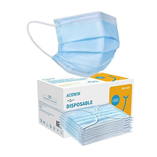 Acewin TYP IIR Einwegmasken Kinder 3 Lagig Masken CE Zertifizierte 50 Stück Kinder Mundschutz Mund Nasen Schutz Einweg Gesichtsmaske Kindermasken,BFE 98% Blau