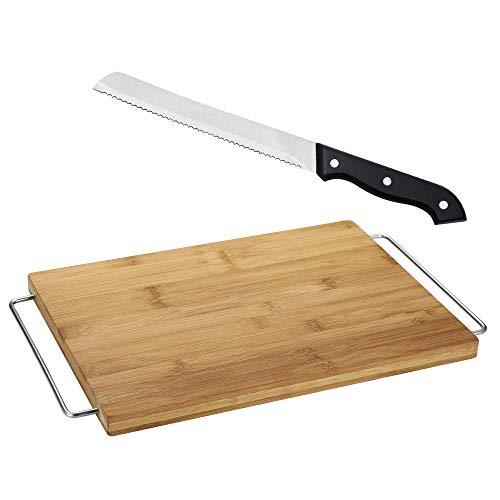 Tabla de corte 41 x 25 x 2 de bambú Masterpro Gravity con cuchillo panero de 20 cm Bonn en acero inoxidable