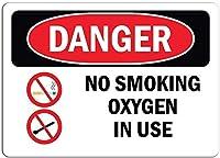 アートウォールの装飾アルミサイン、禁煙酸素使用中、ヴィンテージルック再生金属ティンサイン金属看板壁装飾ガレージショップバーリビングルーム壁アートポスター