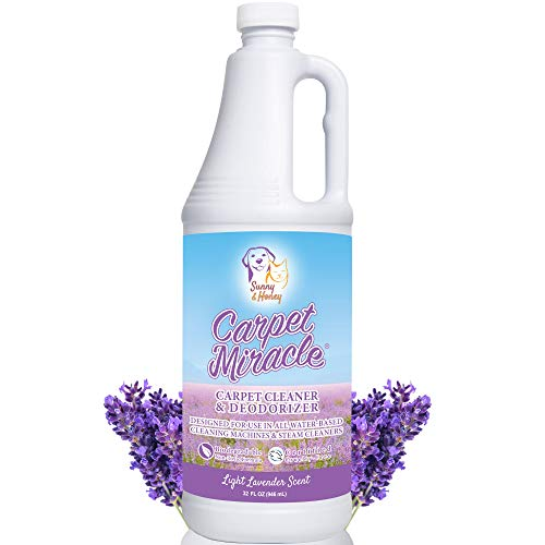 Carpet Miracle - The Best Carpet Cleaner Shampoo Solution for Machine Use, Deep Stain Remover and Odor Deodorizing Formula, Use On Rug Car Upholstery and Carpets (LAV, 32FL OZ)