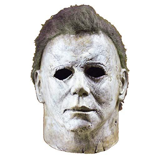 Ani·Lnc Michael Myers Máscara Película de Terror de Halloween Cosplay Látex Adulto Cara de Casco Completo Fiesta de Halloween Scary Prop