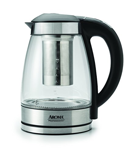 Aroma Housewares AWK-165DI 7 Cup Glass and Stainless Digital Kettle with Tea Infuser, 1.7 L, Clear