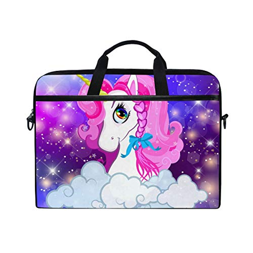 Moyyo Kawaii Unicorn Laptop Bag Laptop Case with 3 Compartment Shoulder Strap Handle Canvas Computer Bag Personalised for Women Men Kids Girls Boys 15 inch