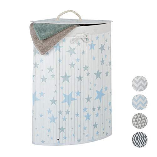 Relaxdays Cesto Ropa Sucia Esquinero con Tapa, Cubo Colada Plegable, 60 L, Estrellas, 65,5 x 49,5 x 37 cm, Blanco-Azul, 65.5 x 49.5 x 37 cm