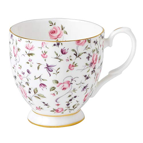 Royal Albert 0,3 litro de Porcelana Fina Tea Party Confeti Rosa Vintage Taza con Base, Blanco