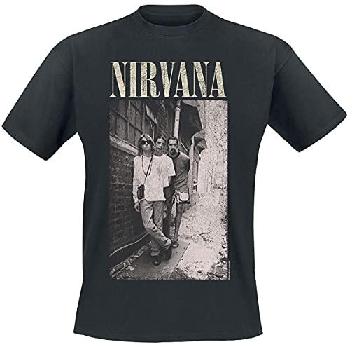 Nirvana Alleyway Hombre Camiseta Negro M, 100% algodón, Reg