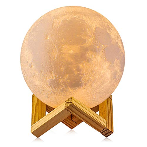 Moon Lamp, LOGROTATE 3D Printing 2 Colors RGB Led Moon Light with Stand, Moon Light Lamps with Touch Control and USB Recharge (3.98 inch)