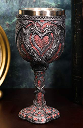 Ebros Celtic Valentine Lovers Dual Dragon Romantic Red Heart Vial Of Blood Wine Goblet 7'Tall Medieval Renaissance Dungeons And Dragons Themed Beverage Cup Chalice As Decorative Drinking Party Hosting