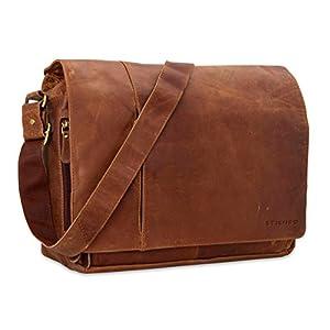 Dimensiones externos: 41 x 33 x 13 cm (LxHxP)   Total compartimientos: 7 Bolso de piel clásico para la oficina o tiempo libre. El bolso ofrece espacio suficiente para todo aquello de lo que no quiere o puede prescindir. La piel de color marrón vintag...
