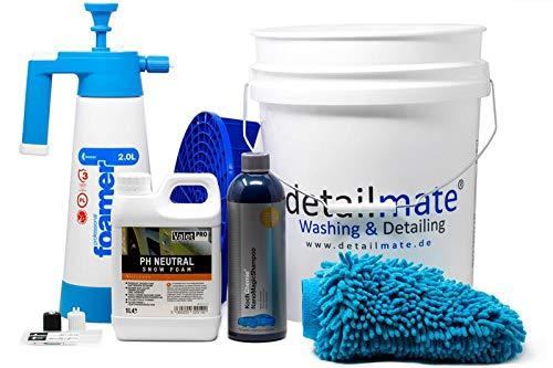 Detailmate Set – prelavaggio: ValetPro PH neutro Snow Foam, Kwazar Foamer 2L – Lavaggio principale: Koch Chemie Nano Shampoo 750 ml, secchio Gritguard 20 l, inserto sporco, guanto da doccia