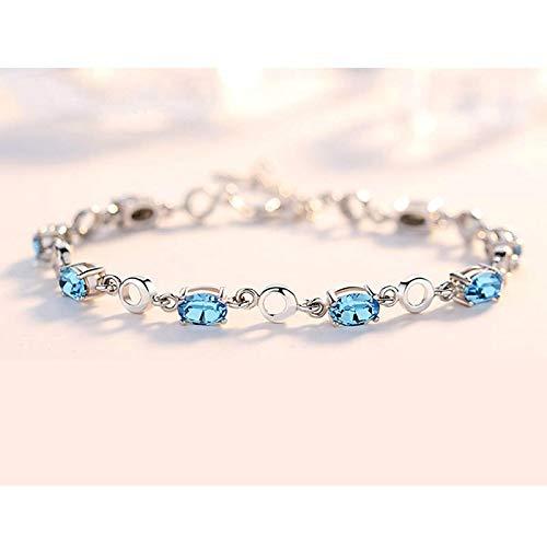 aolongwl Pulsera azul aguamarina pulseras para mujer real 925 plata de ley azul profundo pulsera de piedras preciosas para el regalo de cumpleaños del estudiante aquablue
