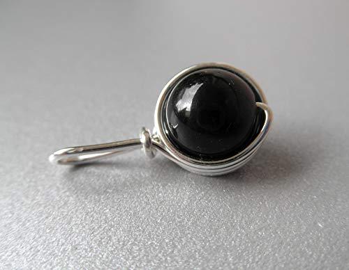 Kettenanhänger Tendre - Edelstein schwarzer Turmalin (Schörl) - versilbert