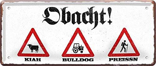 Attention : Kiah 1123 Bulldog Preissn Bayerisch Plaque décorative en tôle Motif Bavarois 28 x 12 cm