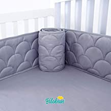 Baby Bumper for Cribs, Safe & Washable Baby Bedding Bumpers Crib Padded Liners for Boys, 4 Piece/Set Fit Standard Crib 52 x 28, Gray