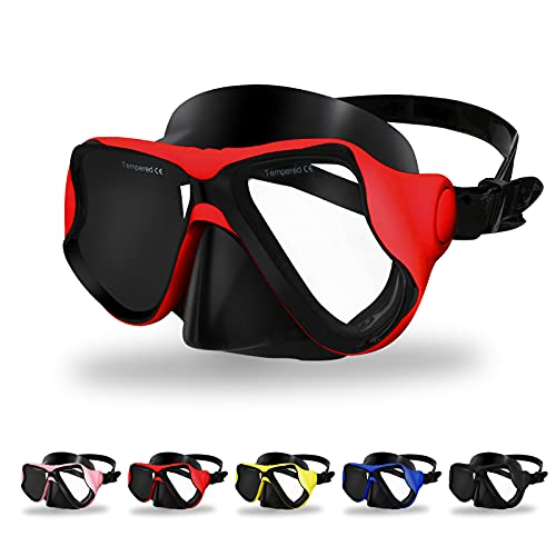Craftend Diving Mask,Matte Finish,Anti-Fog Tempered Glass Lens Snorkeling Dive Mask,Premium Scuba Mask with Nose Cover for Snorkeling,Freediving, Swimming Matte Red