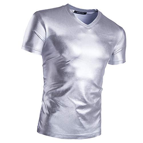 B Baosity Glitzer Schlank T-Shirt Metallic Muskel Shirt Wetlook Herren Reizwäsche Lässige Oberteile Bluse - Silber, L