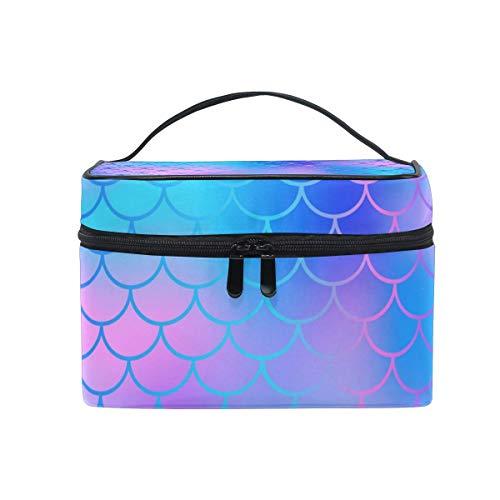 Coloré Aquarelle Sirène Échelle Cosmétique Sac Toilette Voyage Maquillage Cas Poignée Poche Multi-Fonction Organisateur pour Femmes-Z01