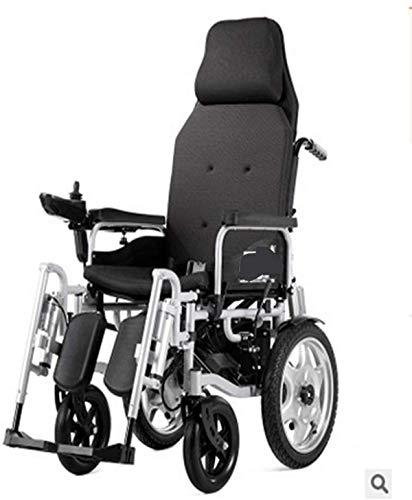 Elektrorollstuhl Elektro-Rollstühle, leicht faltbare Elektro-Rollstuhl, mit Reclinable Rückenlehne und Dual-Leistungsstarke Motor Tragbarer Transit Reisen for Behinderte und ältere Mobilität Bequemes