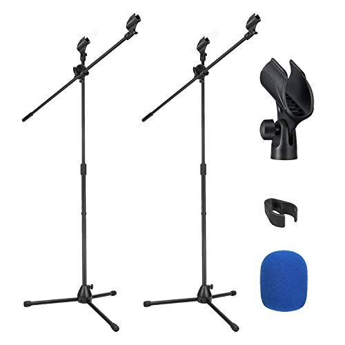Moukey Mic Stand, Tripod Boom Microphone Stands with 4 Non-Slip Mic Clips and 4 Foam covers, Adjustable, Collapsible for Shure sm7b / sm58, 2-Pack (Black)