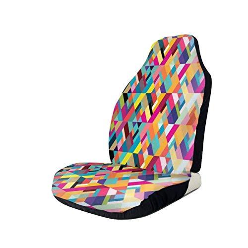 Auto-Vordersitzbezüge Fahrzeugschutz, Bauhaus-Stil Muster der geometrischen Formen als Bunte diagonale Fliesen modernen Druck, passen die meisten Autos