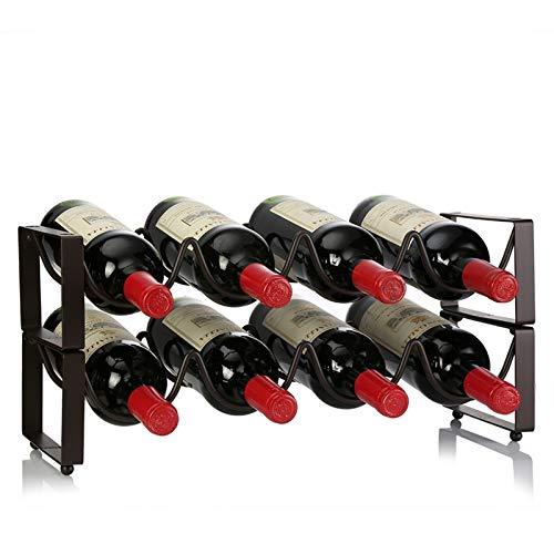 WaWeiY Estante de Vino de Metal con 8 Botellas de encimera de encimera en el Armario de Vino, Estilo Requiere un Montaje mínimo.45.7cmx11.2cmx17.2cm