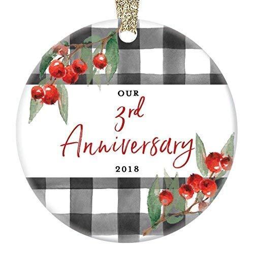 Fr75en - Adorno de 3º Aniversario de Boda de Navidad 2019 de 3 años de Matrimonio, Recuerdo para Esposa, Esposa, Marido, Pareja