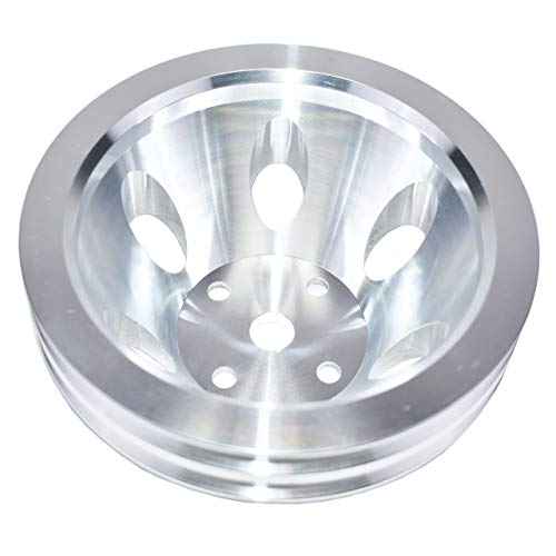 A-Team Performance Double-Groove Aluminum Long Water Pump Pulley Compatible With Small Block Chevrolet 262 302 400