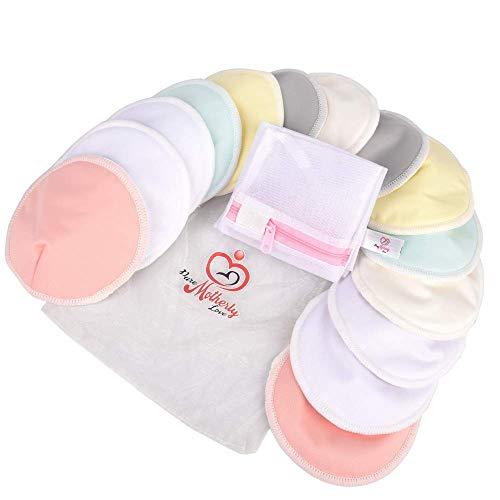 PureMotherlyLove Reusable Bamboo Nursing Pads - 14 Pads+3 Bonus Items - Large Size (4.7 inches) -...