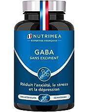 GABA 750 mg/j Sans Excipient | Anti Stress & Anxiété, Calme et Sérénité, Sommeil Réparateur | 60 gélules vegan | Fabrication Française | Nutrimea