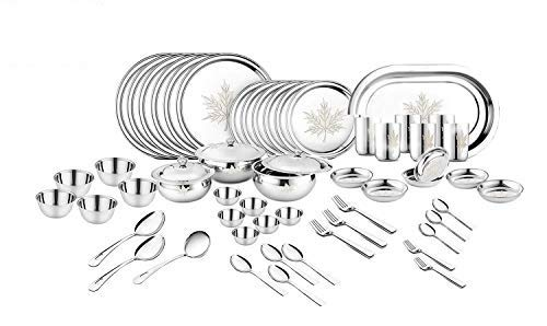 Classic Essentials Stainless Steel Maple Dinner Set,68-Pieces,Silver -Heavy Gauge with Permanent Laser Design