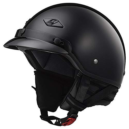 LS2 Helmets Bagger Motorcycle Half Helmet (Gloss Black - Large)