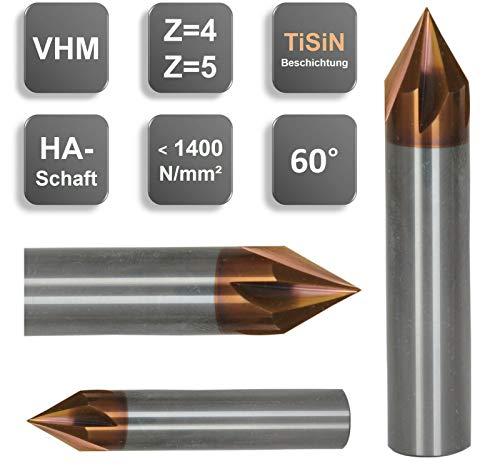 VHM Entgrater, Fasenfräser, 60°, Sonderbeschichtung, 3, 4, 5, 6, 8, 10, 12 mm, Größe: 4 x 40 - d2=4 mm - Z=4