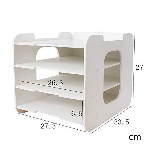 Desk Organizer fai da te Documento vassoi bianchi Holder File 4 strati di legno Vassoio carta Scuola di forniture for ufficio Accessori Gioia angolo Vassoio per lettere