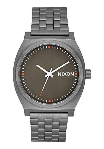 Nixon Time Teller Gunmetal/Slate/Orange Men's Watch (37mm. Slate & Orange Face/Gunmetal Metal Band)