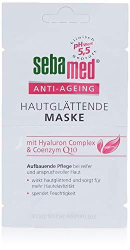 Sebamed Anti-Ageing Hautglättende Maske Vorteilspack12 x 5 ml, aufbauende Pflege mit einem Wirkstoffkomplex aus Coenzym Q10, Hyaluronsäure und Traubenkernöl