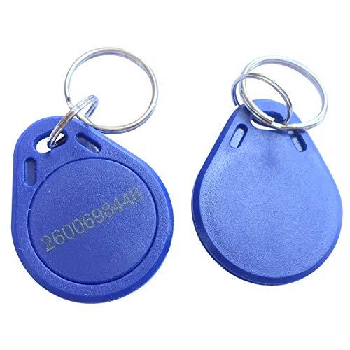 YARONGTECH M1-Chip-Tag, 13,56 MHz, ISO14443A, RFID-Schlüsselanhänger, 10 Stück (blau-ID Bedruckt)