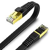 0.5m KASIMO CAT8 LANケーブル カテゴリー8 フラット 40Gbps 2000MHz SFTP RJ45 超高速 金メッキコネクタ 二重シールド 爪折れ防止 ADSL回線 光回線 有線ランケーブル wi-fiケーブル パソコン モデム ルーター ラップトップ プリンター PS3 PS4 PS5 Xbox等に対応 (ブラック) (0.5m)