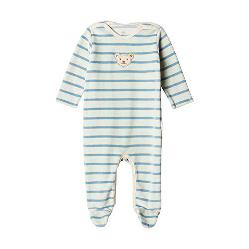 Steiff Unisex Baby Romper aus Bio-Baumwolle mit Streifen, Blau (Allure 3110), 50 (Herstellergröße: 50)