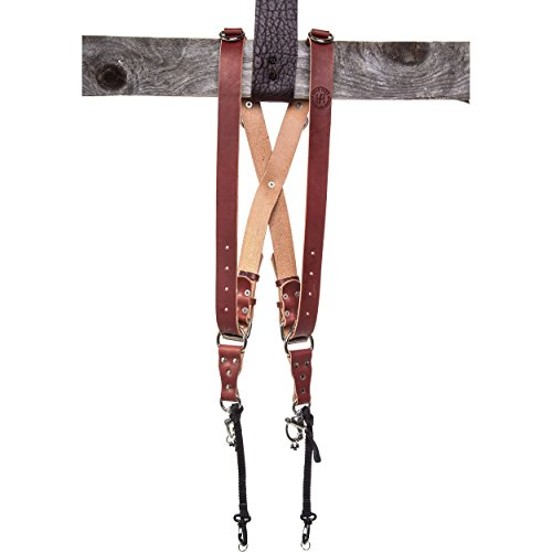 HoldFast Gear MoneyMaker Two-Camera Harness, Bridle Leather, Medium, Chestnut