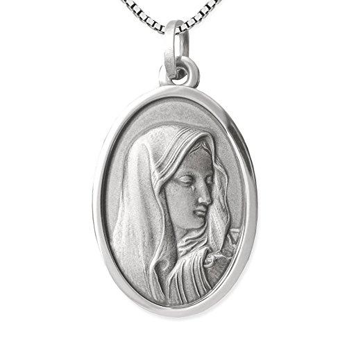 Clever Schmuck Set Halskette mit Anhänger oval 22 mm Heilige Madonna Maria Dolorosa antik geschwärzt & Kette Venezia 45 cm STERLING SILBER 925 im Magnet-Etui