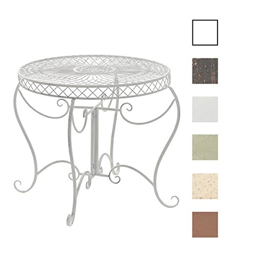CLP Table Ronde de Jardin Sheela - Table de Jardin Design en Fer Forgé -  Table de Terrasse Style Antique - Meuble de Jardin en Fer - Couleur : Blanc  ...