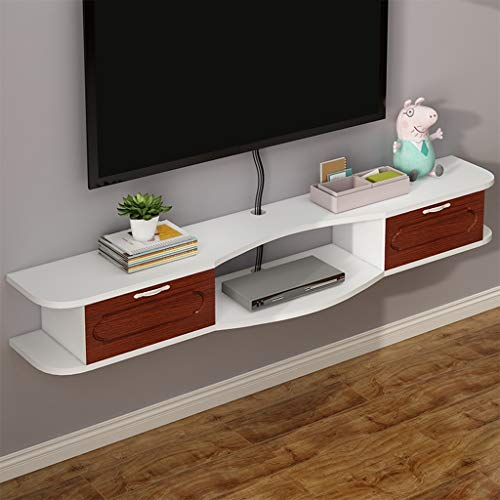 Drijvende Shelf Muur TV Cabinet Open Shelf met 2 Flip Laden for DVD-speler TV Box Cable Box Media Console TV Stand Opknoping Storage cabniet (Color : Teak color, Size : 120cm)