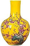 JARRONES Jarrón de cerámica Potes de macetas Planta Contenedor de cerámica D Jarrón, cerámica china amarillo pequeño florero, decoración de arreglos de flores Estilo chino Sala de estar Gabinete de TV