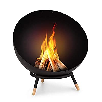 blumfeldt Fireball Wood Fire Bowl - Ø 60 cm, Tiltable Fireplace, Solid 3 mm Thick Steel Fire Bowl, Can Be Used Horizontally and Diagonally, Wooden Feet, Designed in Berlin, incl. Rain Cover, Black by Blumfeldt