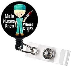 LOVEKITTY - Male Nurse Retractable Swivel Clip ID Badge Reel/Name Badges/ID Badge Holder for Doctor Nursing Badge Xray Tech Medical Co Worker/Teacher Nurse Great Gift Idea (19M