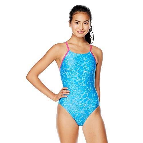 Speedo Women's Standard Swimsuit One Piece ProLT Flyer Back, Shimmer Pool Blue, 34
