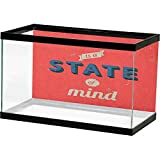 Ediyuneth 3D Aquarium Background Quote,Success is A State of Mind in Retro Style Theme Motivational Quote Classic Print, Red Charcoal Fish Tank Decorative
