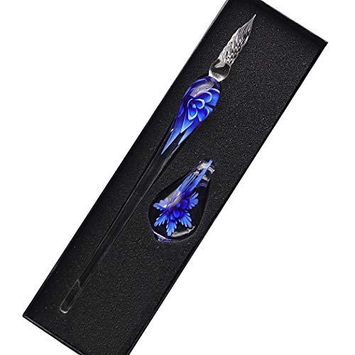 Sipliv hecho a mano de cristal de cristal intarsia dip pen kit de pluma estilográfica vintage caligrafía firmas pluma con un portalápices para cumpleaños regalo de navidad, azul oscuro