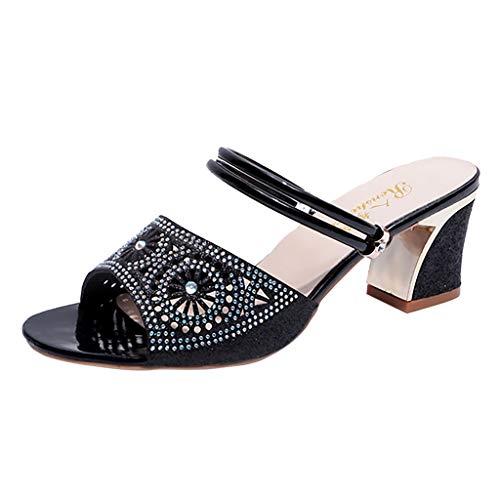 Janly Clearance Sale - Sandalias de verano para mujer, estilo bohemio con cristales de estilo bohemio, zapatos casuales, de poliuretano, negro, 39 / UK:6
