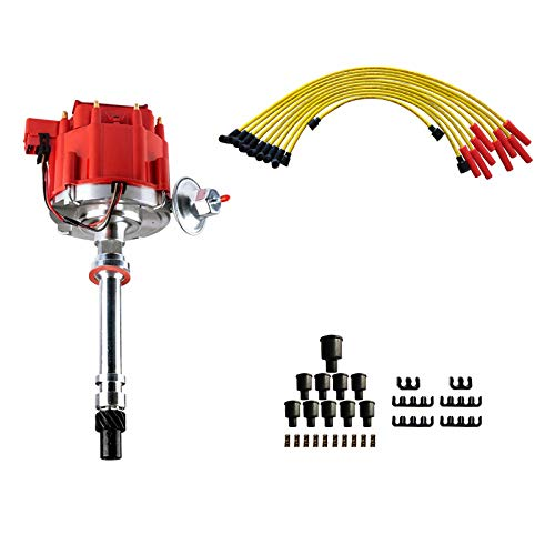 Brand New Ignition Distributor w/Cap & Rotor and Spark Plug Wires Ignition Combo Kit GM08 GM08WIRE Compatible with Chevy SBC 350 BBC 454 HEI DD-SBC-HEI-V8 850001R GM08